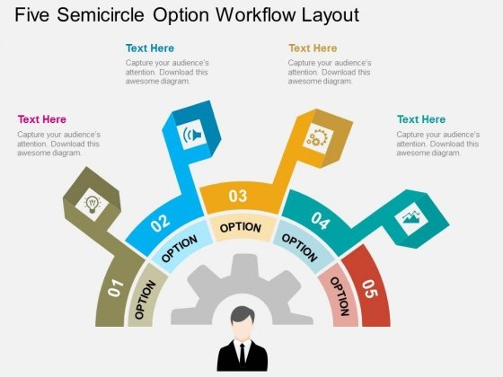 Five Semicircle Option Workflow Layout Powerpoint Template