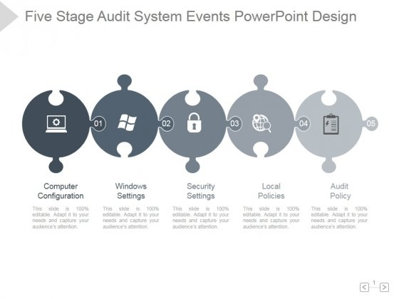 Five Stage Audit System Events Ppt PowerPoint Presentation Good