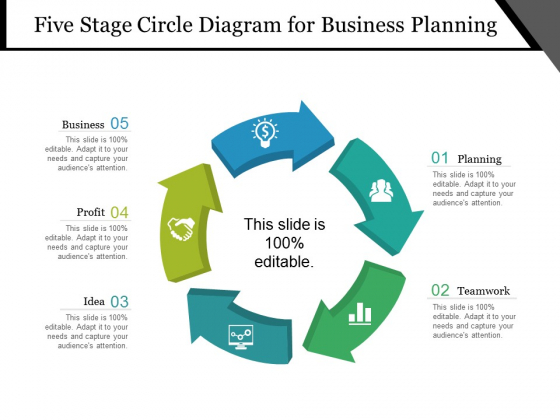 Five Stage Circle Diagram For Business Planning Ppt PowerPoint Presentation Summary