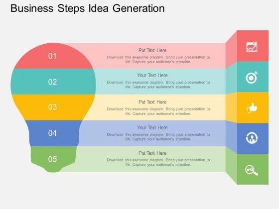 Five Staged Business Steps Idea Generation Powerpoint Template