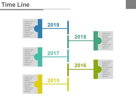 Five Staged Business Timeline Report Powerpoint Slides