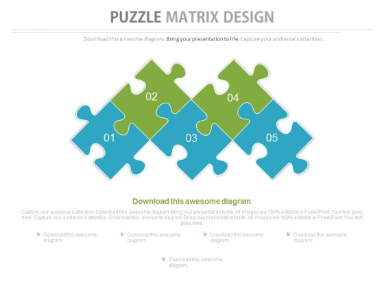 Five Staged Puzzles Matrix Design Powerpoint Slides
