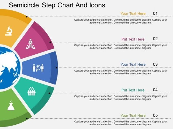Five Staged Semicircle Step Chart And Icons Powerpoint Template