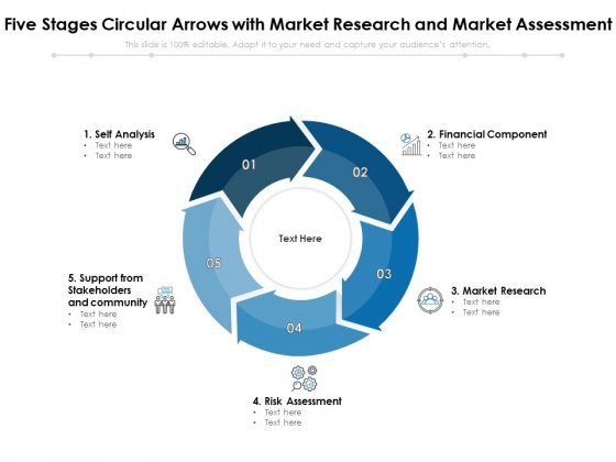 Five Stages Circular Arrows With Market Research And Market Assessment Ppt PowerPoint Presentation Infographic Template Slideshow PDF