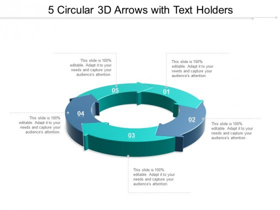 Five Stages Circular Arrows With Text Holders Ppt Powerpoint Presentation Outline Shapes