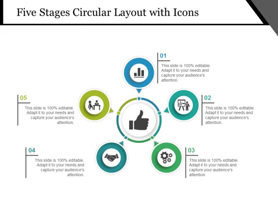 Five Stages Circular Layout With Icons Ppt PowerPoint Presentation Pictures Portfolio