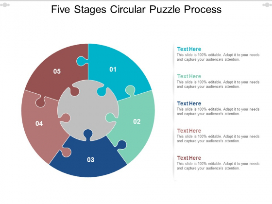 Five Stages Circular Puzzle Process Ppt PowerPoint Presentation Show Designs Download