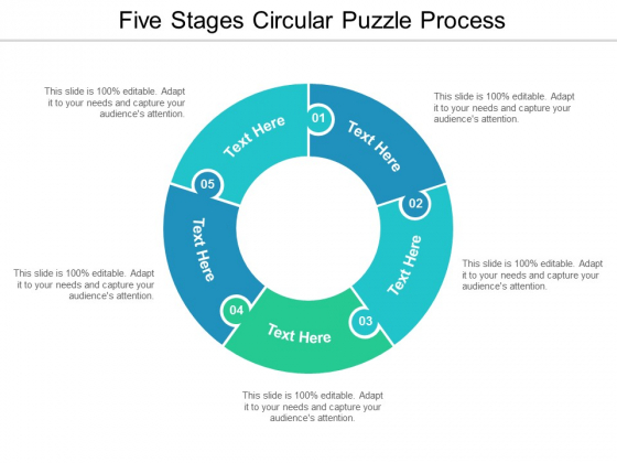 five stages circular puzzle process ppt powerpoint presentation styles design ideas