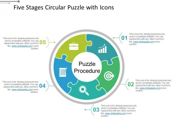 Five Stages Circular Puzzle With Icons Ppt PowerPoint Presentation File Microsoft