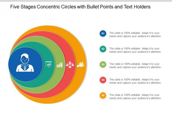 Five Stages Concentric Circles With Bullet Points And Text Holders Ppt Powerpoint Presentation Slides Styles