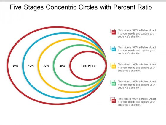 Five Stages Concentric Circles With Percent Ratio Ppt Powerpoint Presentation Gallery Format Ideas