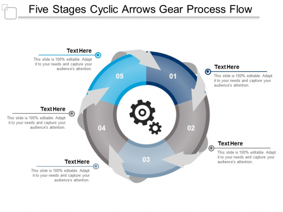 Five Stages Cyclic Arrows Gear Process Flow Ppt Powerpoint Presentation Inspiration Graphics Tutorials