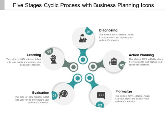 Five Stages Cyclic Process With Business Planning Icons Ppt Powerpoint Presentation Model Slide
