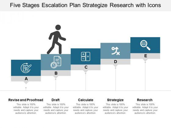 Five Stages Escalation Plan Strategize Research With Icons Ppt PowerPoint Presentation Icon Graphics Pictures