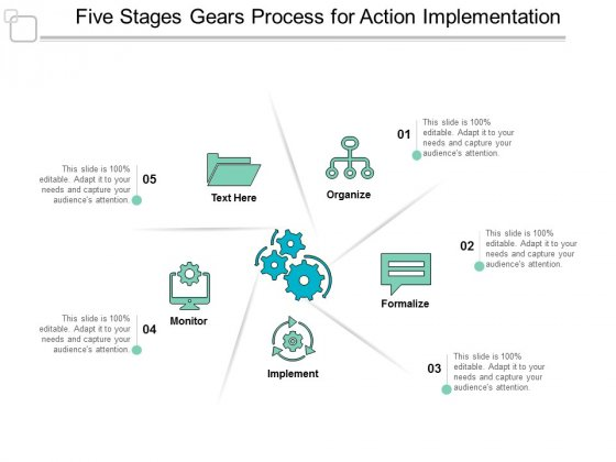 Five Stages Gears Process For Action Implementation Ppt Powerpoint Presentation Icon Smartart