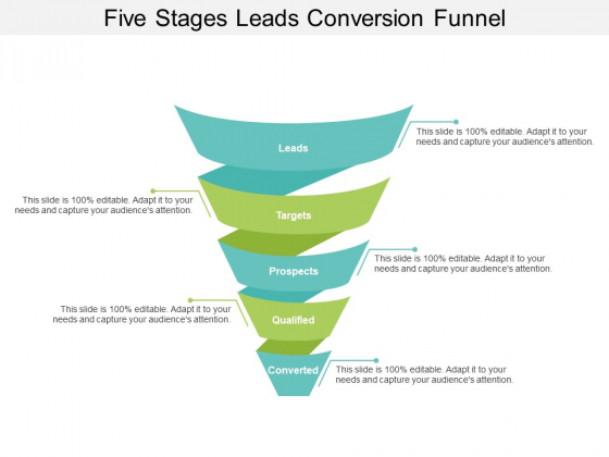 Five Stages Leads Conversion Funnel Ppt PowerPoint Presentation Styles Introduction