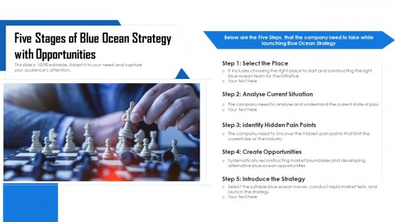 Five Stages Of Blue Ocean Strategy With Opportunities Ppt Powerpoint Presentation Gallery Clipart Images PDF