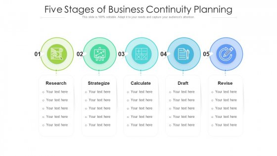 Five Stages Of Business Continuity Planning Ppt PowerPoint Presentation Gallery Samples PDF