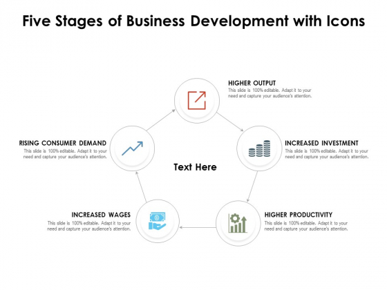 Five Stages Of Business Development With Icons Ppt PowerPoint Presentation Gallery Graphics Design