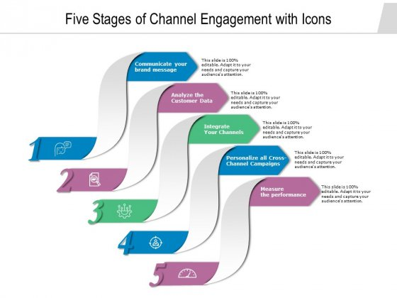 Five Stages Of Channel Engagement With Icons Ppt PowerPoint Presentation File Model PDF