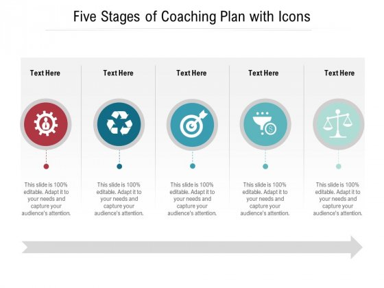 Five Stages Of Coaching Plan With Icons Ppt PowerPoint Presentation Gallery Graphic Images PDF