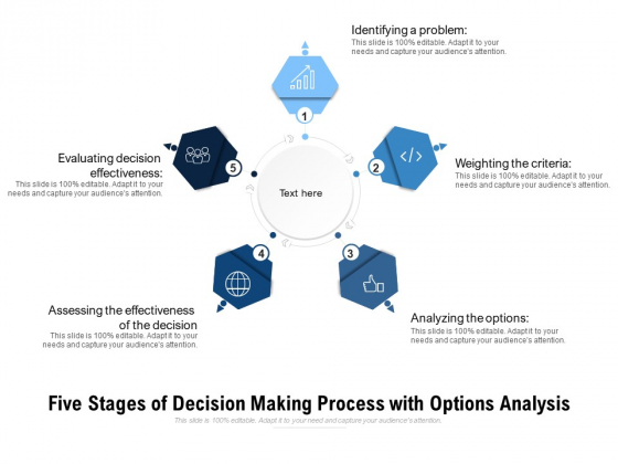 Five Stages Of Decision Making Process With Options Analysis Ppt PowerPoint Presentation Professional Aids PDF