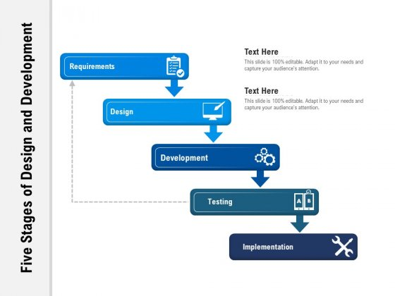 Five Stages Of Design And Development Ppt PowerPoint Presentation File Aids PDF