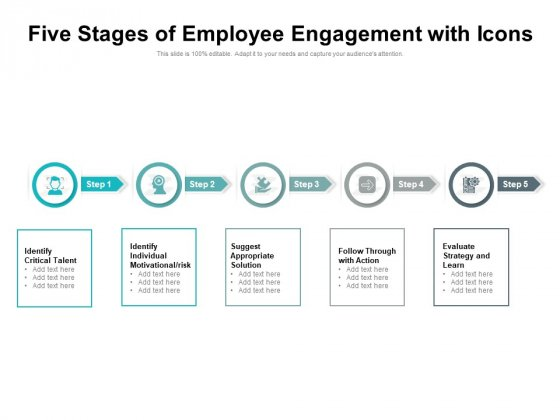 Five Stages Of Employee Engagement With Icons Ppt PowerPoint Presentation Professional Skills PDF
