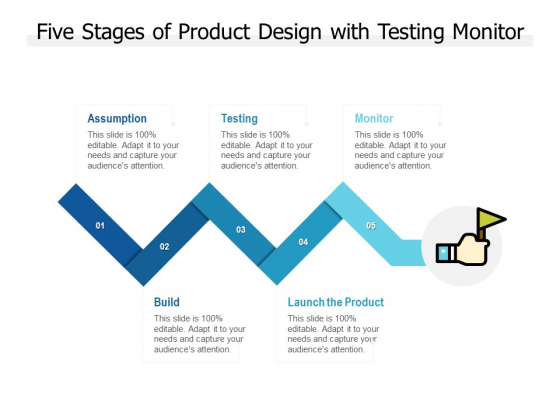 Five Stages Of Product Design With Testing Monitor Ppt PowerPoint Presentation Model Good