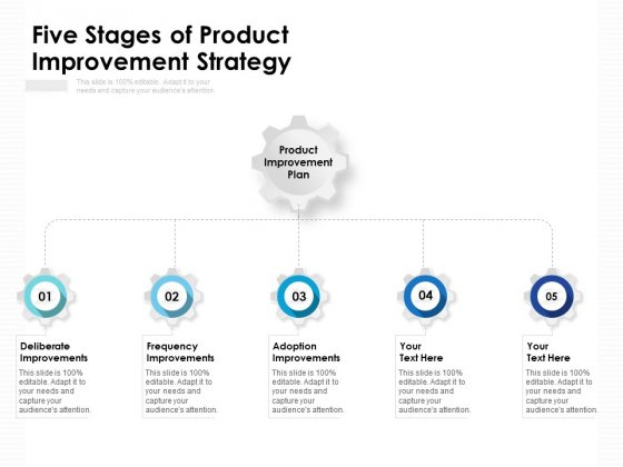 Five Stages Of Product Improvement Strategy Ppt PowerPoint Presentation Infographic Template Examples PDF