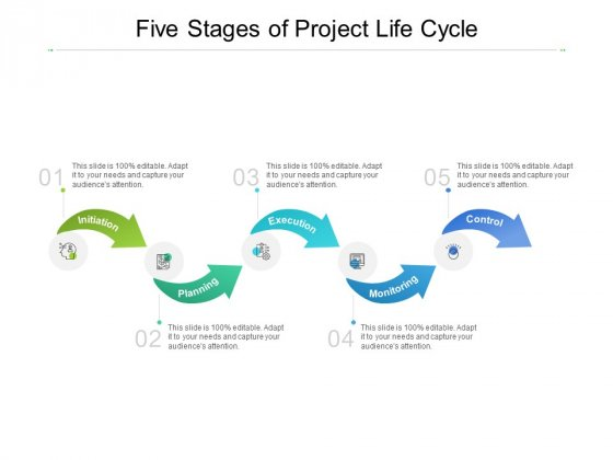 Five Stages Of Project Life Cycle Ppt PowerPoint Presentation Ideas