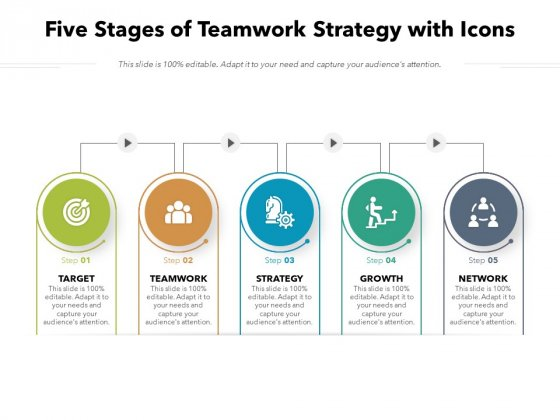 Five Stages Of Teamwork Strategy With Icons Ppt PowerPoint Presentation File Introduction PDF