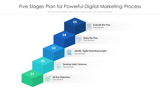 Five Stages Plan For Powerful Digital Marketing Process Ppt PowerPoint Presentation Gallery Background PDF