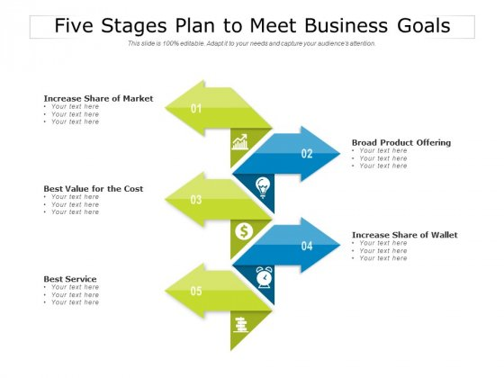 Five Stages Plan To Meet Business Goals Ppt PowerPoint Presentation Outline Example