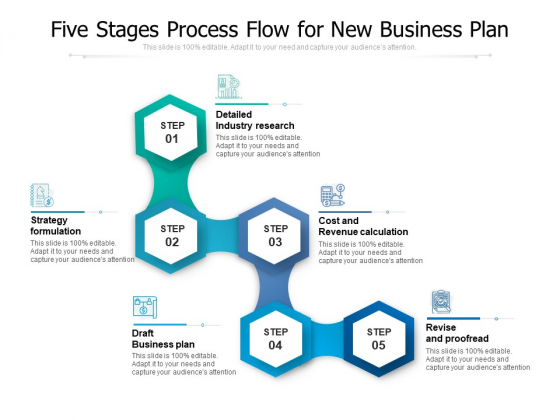 Five Stages Process Flow For New Business Plan Ppt PowerPoint Presentation Gallery Background PDF