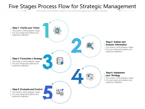 Five Stages Process Flow For Strategic Management Ppt PowerPoint Presentation Gallery Ideas PDF