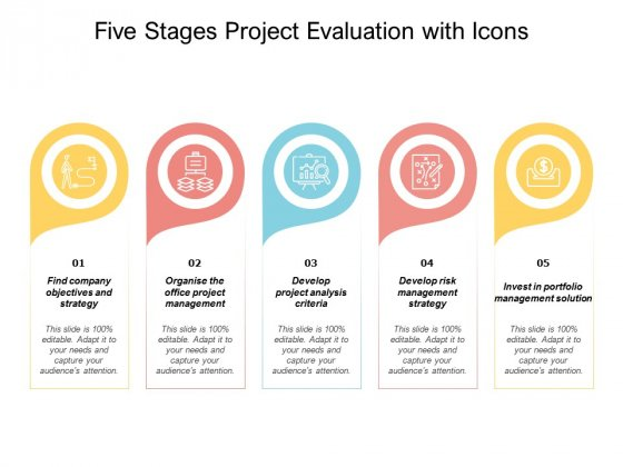 Five Stages Project Evaluation With Icons Ppt PowerPoint Presentation Pictures Layout Ideas