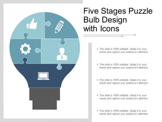 Five Stages Puzzle Bulb Design With Icons Ppt PowerPoint Presentation Styles Structure