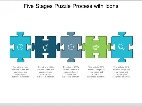 Five Stages Puzzle Process With Icons Ppt Powerpoint Presentation Icon Visuals