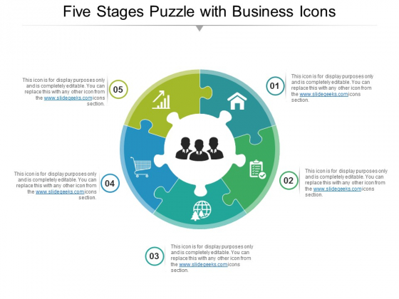 Five Stages Puzzle With Business Icons Ppt PowerPoint Presentation Infographic Template Graphics Design