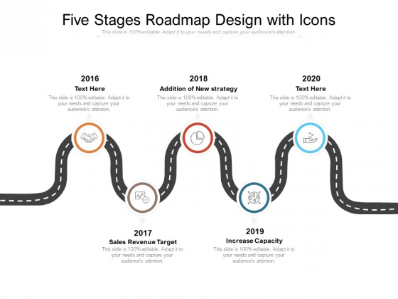 Five Stages Roadmap Design With Icons Ppt PowerPoint Presentation Inspiration Designs