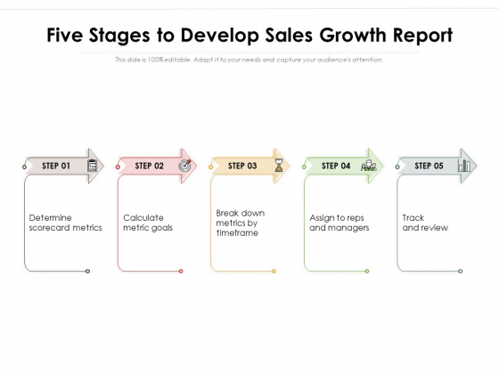 Five Stages To Develop Sales Growth Report Ppt PowerPoint Presentation File Elements PDF