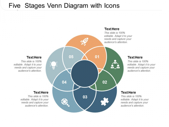 Five Stages Venn Diagram With Icons Ppt PowerPoint Presentation Professional Microsoft