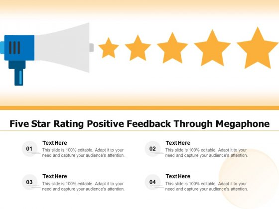 Five Star Rating Positive Feedback Through Megaphone Ppt PowerPoint Presentation Summary Aids PDF