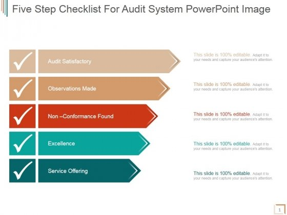Five Step Checklist For Audit System Ppt PowerPoint Presentation Deck