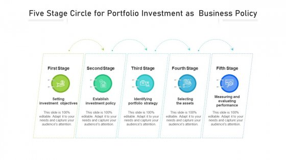 Five Step Circle For Portfolio Investment As Business Policy Ppt PowerPoint Presentation File Example PDF