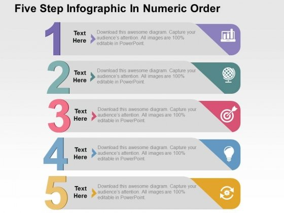 Five Step Infographic In Numeric Order Powerpoint Templates