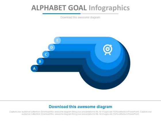 Five Steps Alphabet Goal Infographics Powerpoint Slides