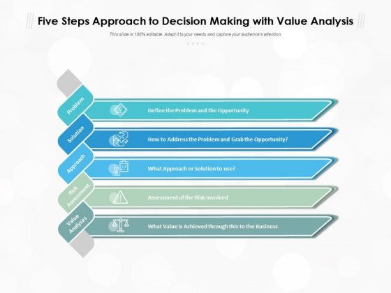 Five Steps Approach To Decision Making With Value Analysis Ppt PowerPoint Presentation Outline Inspiration