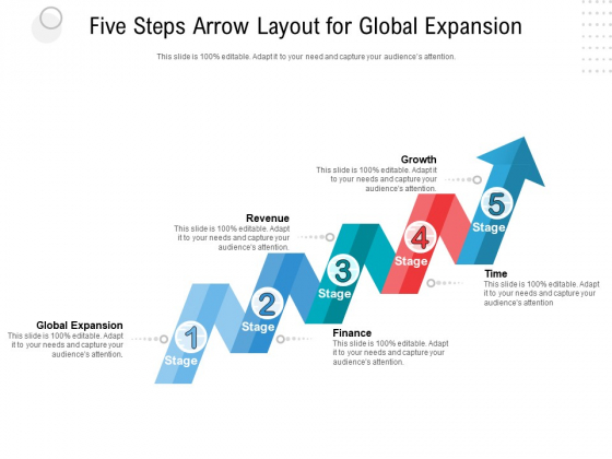 Five Steps Arrow Layout For Global Expansion Ppt PowerPoint Presentation Professional Brochure PDF